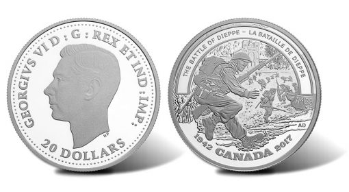 Canadian $20 WWII Battle of Dieppe Silver Coin - Obverse and Reverse