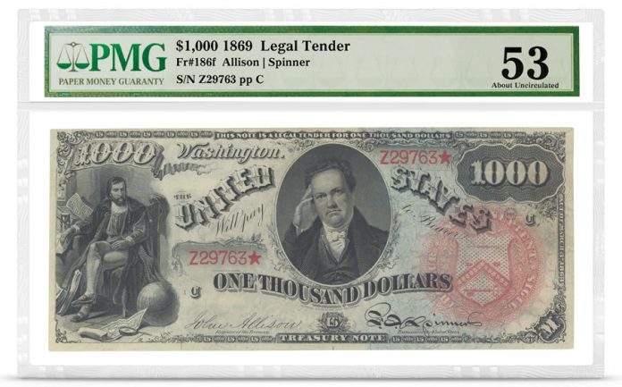 1,000 1869 Rainbow note