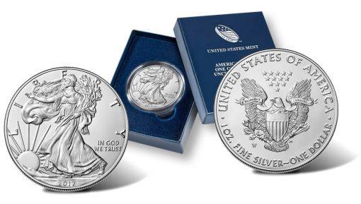 2017-W Uncirculated American Silver Eagle - obverse, presentation case, reverse