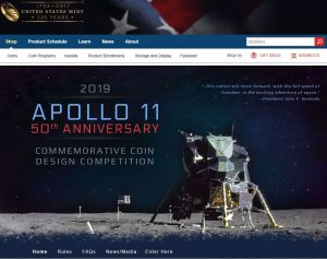 US Mint webpage for Apoll11 coin design competition