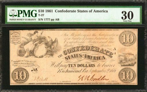1861 Confederate $10. T-27
