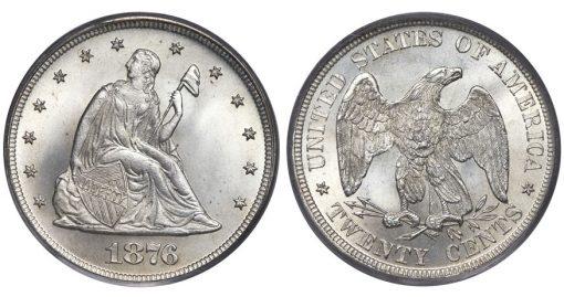1876 20C MS67 PCGS. CAC