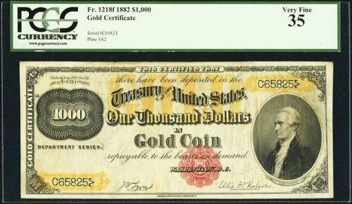 1882 $1,000 Gold Certificate