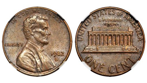 1982-D Small Date Cent Error Struck on a Bronze Planchet