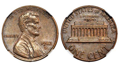 1982-D Small Date Cent Error Struck on a Bronze Planchet