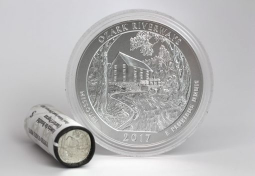 2017-P Ozark National Scenic Riverways Five Ounce Silver Uncirculated Coin and Quarters