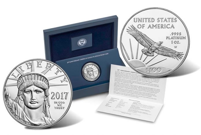 2017-W Proof 20th Anniversary American Platinum Eagle coin and case