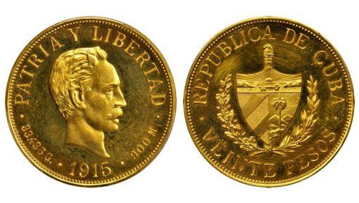 CUBA. 20 Pesos, 1915. Philadelphia Mint