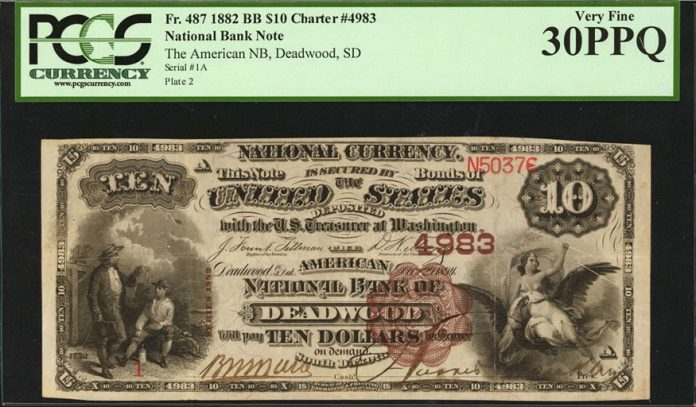 Deadwood, South Dakota. $10 1882 Brown Back