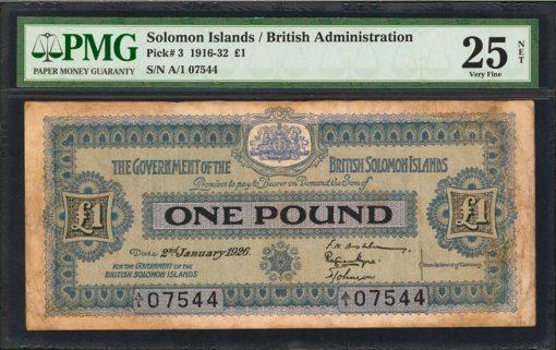 Government of the British Solomon Islands. 1 Pound