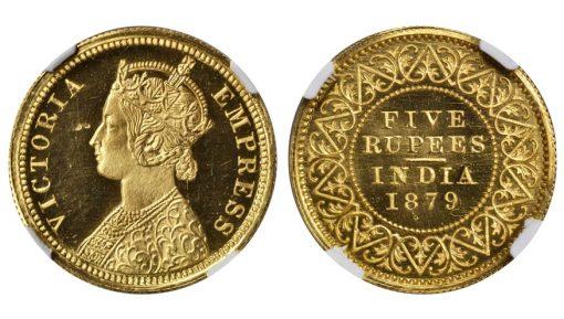 INDIA. 5 Rupees, 1879