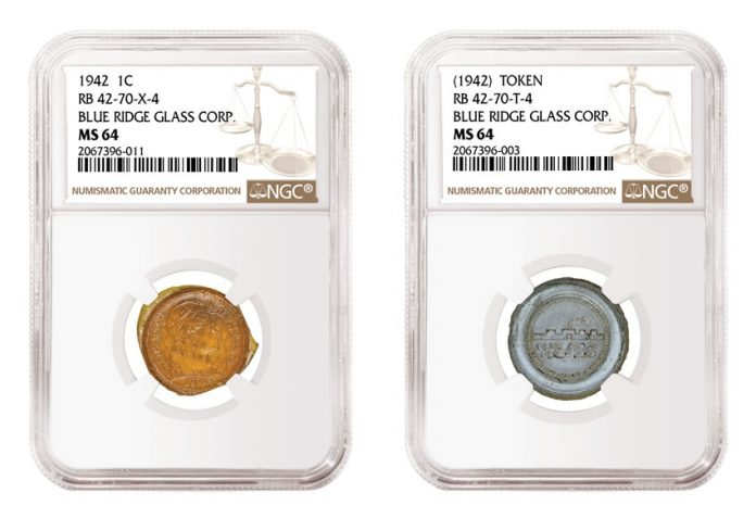 NGC certified glass cent and glass token