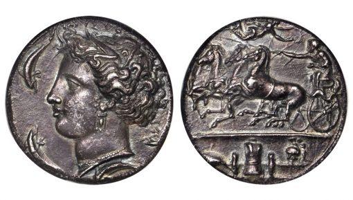 SICILY. Syracuse. Dionysios I, 406-367 B.C. AR Decadrachm