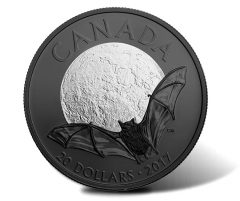 2017 $20 Canadian Coin Shows Little Brown Bat in Black Rhodium Plating
