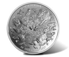 Flora and Fauna of Canada Depicted on 2017 $30 2 oz Silver Coin