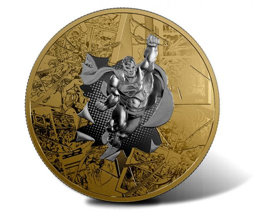 2017 DC Comics Originals, The Brave and The Bold -3 oz. Reverse Gold-Plated Silver Coin - Reverse