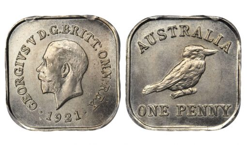 AUSTRALIA. Penny Pattern Struck in Copper-Nickel,1921