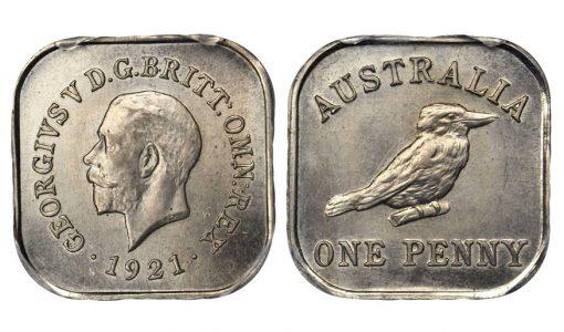 AUSTRALIA. Penny Pattern Struck in Copper-Nickel,1921