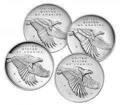 American Liberty Four Silver Medal Set - Medal Reverses