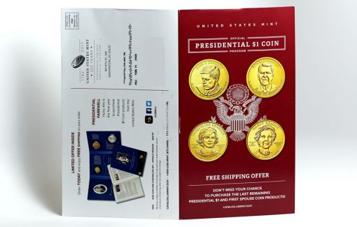 Back and Cover of Presidential $1 Coin brochure