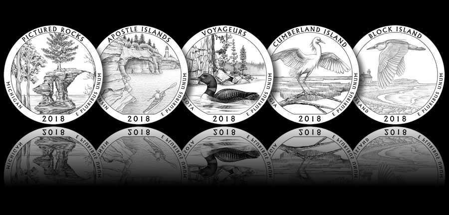 2017 D  America the beautiful  Park 5 ROLLS Quarters  FULL  YEAR  SET