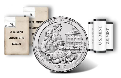 Ellis Island quarter, rolls and bags