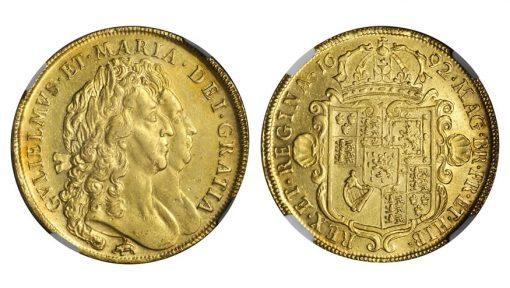 GREAT BRITAIN. 5 Guineas, 1692