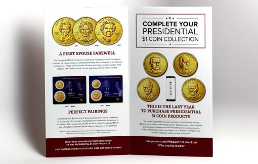 Inside panels of Presidential $1 Coin brochure