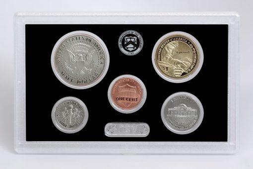 Reverses of 1c, 5c, 10c, 50c, 1$ of 2017-S Enhanced Uncirculated Coin Set