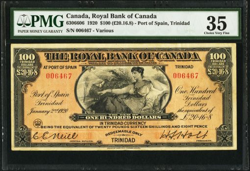 1920 $100 Royal Bank of Canada Trinidad
