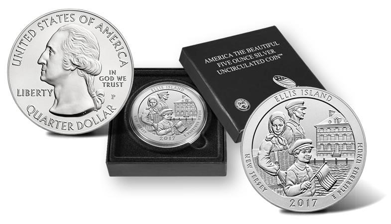 2017 P Ellis Island America The Beautiful ATB 5 oz .999 Fine Silver Coin