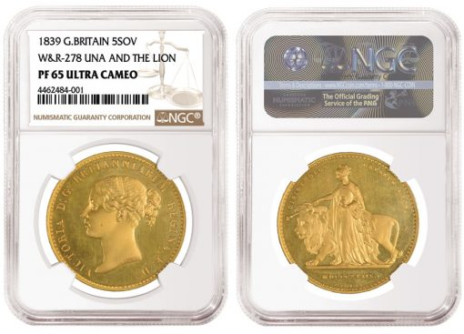 British 1839 'Una and the Lion' Gold Coin
