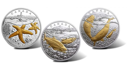 Canadian 2017 $20 From Sea To Sea To Sea Silver Gold-Plated Coins
