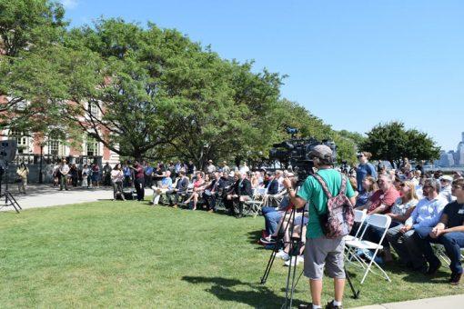 Crowd at Ellis Island quarter ceremony