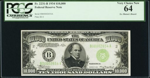 Fr. 2231-B $10,000 1934 Federal Reserve Note