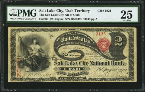 Fr. 389 $2 Original Salt Lake City, Territory of Utah