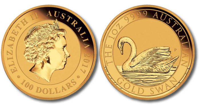 2017 $100 Australian 1oz Gold Swan Coin - Obverse and Reverse