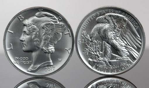 2017 $25 American Palladium Eagle Bullion Coins - Obverse and Reverse
