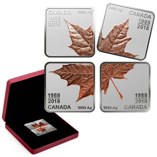 2018 Pure Silver Rose Gold-Plated Maple Leaf Quartet