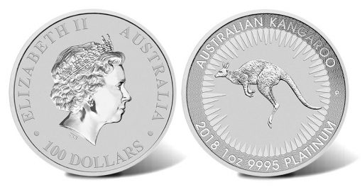 2018 $100 Australian Kangaroo 1oz Platinum Bullion Coin