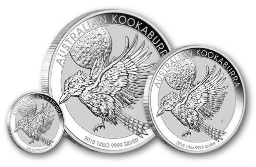 2018 Australian Kookaburra 1oz, 1 kilo, and 10oz Silver Bullion Coins