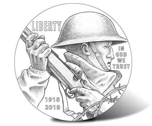 2018 World War I Centennial Silver Dollar (Obverse)