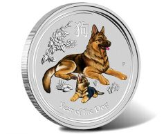 2018 Year of the Dog 1oz Silver Coloured Coin