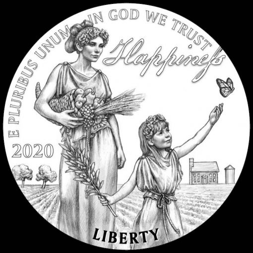 2020-W Proof American Platinum Eagle - Obverse Pursuit of Happiness Design