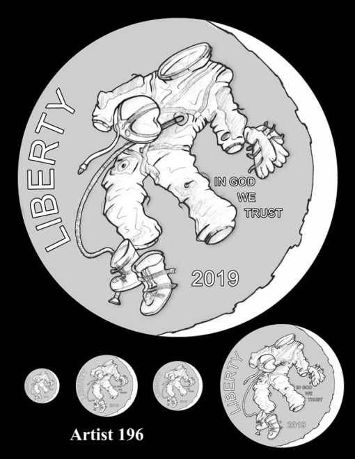Artist 196 - Obverse Apollo 11 Commemorative Coin Design