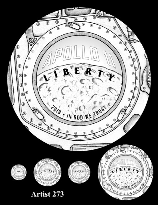 Artist 273 - Obverse Apollo 11 Commemorative Coin Design