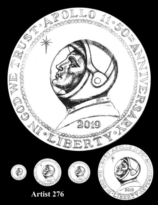 Artist 276 - Obverse Apollo 11 Commemorative Coin Design