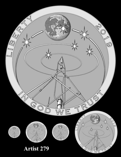 Artist 279 - Obverse Apollo 11 Commemorative Coin Design