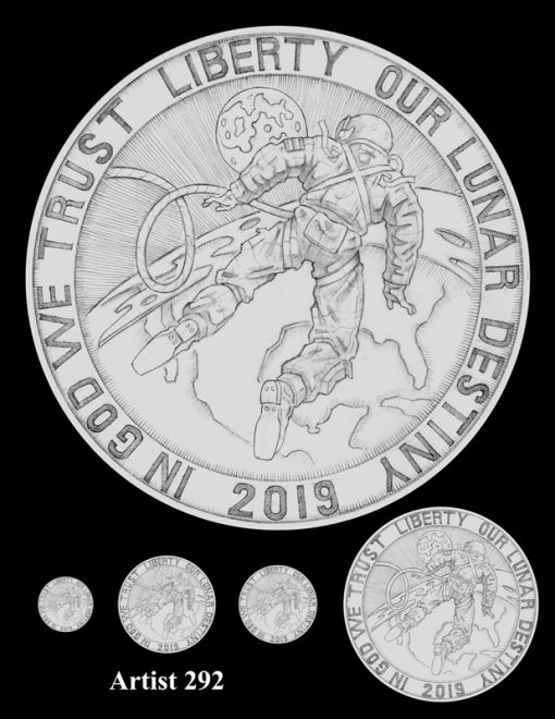 Artist 292 - Obverse Apollo 11 Commemorative Coin Design