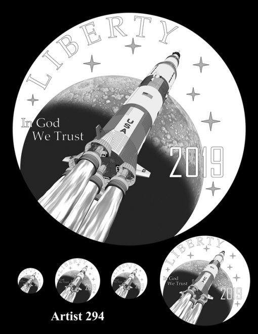 Artist 294 - Obverse Apollo 11 Commemorative Coin Design